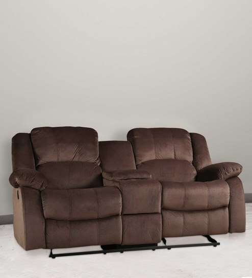 Rhea Two Seater Reclincer With Cup Holders In Brown Finish By Hometown