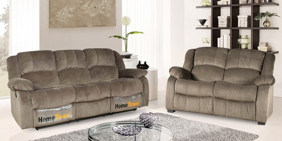 Rhea 3 Seater Recliner With 2 Seater Sofa In Ash Grey Suede By HomeTown