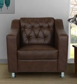 Riosche One Seater Sofa in Brown Leatherette
