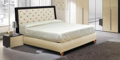 Rich Queen Size Bed with Storage & Tufted Headboard in Cream & Black
