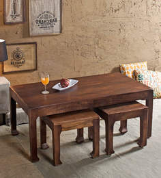 Richard Coffee Table Set With 2 Stools In Paintco Walnut Finish