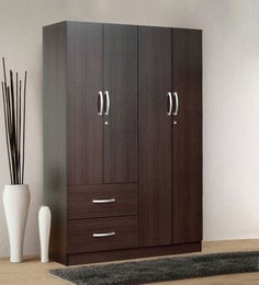 Rikotu Four Door Wardrobe With Two Drawers In Wenge Finish ...