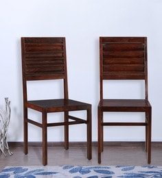Ripples Dining Chair (Set Of 2) In Glossy Nut Brown Finish