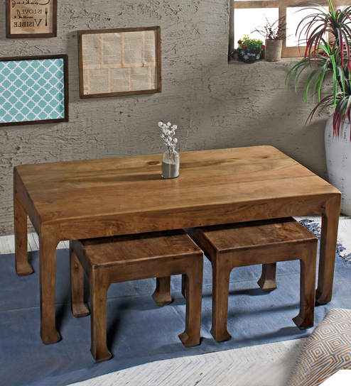 Richard Coffee Table Set With 2 Stools In Paintco Teak Finish