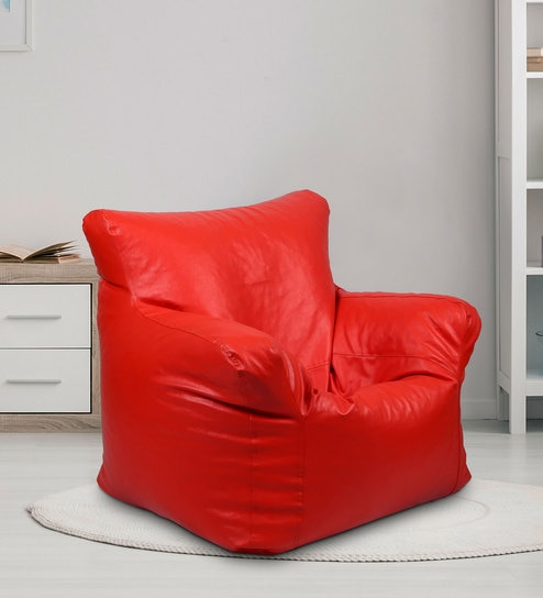 Ricky XXXL Filled Bean Bag In Red Colour By SGS Industries