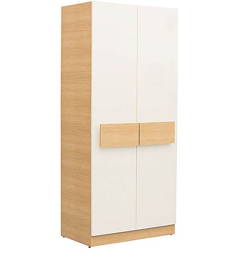 Rico Two Door Marine Plywood Wardrobe in Champagne and Teak Finish with  Hettich Hardware by CasaCraft