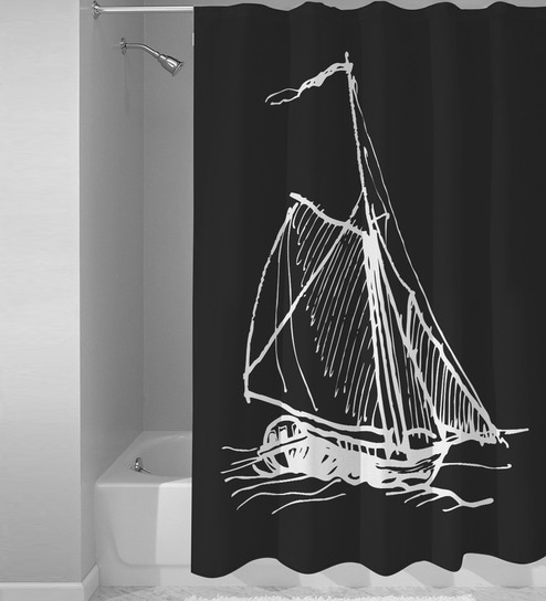 Black White Polyester Boat Print Shower Curtain By Right