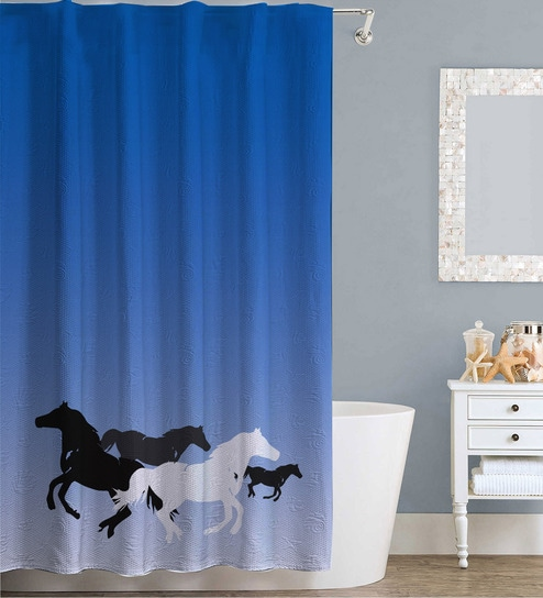 Clip Art Design Blue Polyester Water Proof Shower Curtain By Right