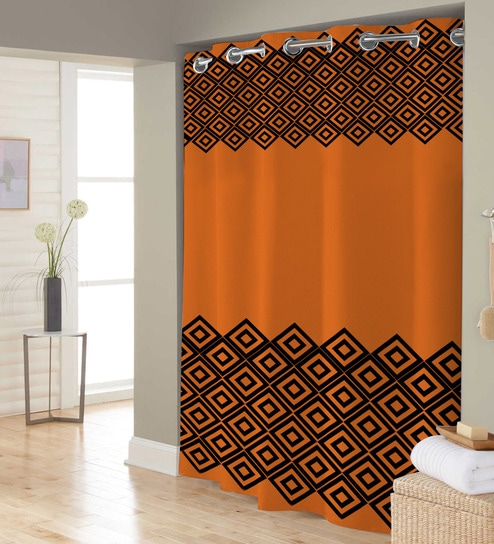 Orange Black Polyester Shower Curtain By Right