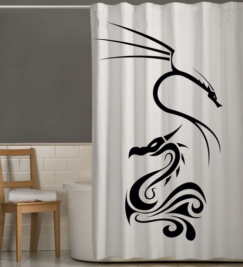 White Black Polyester Dragon Print Shower Curtain By Right
