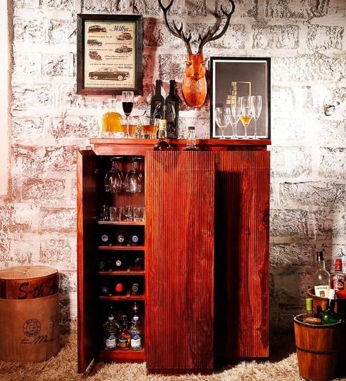 Buy Oakland Bar Cabinet In Honey Oak Finish By Woodsworth Online