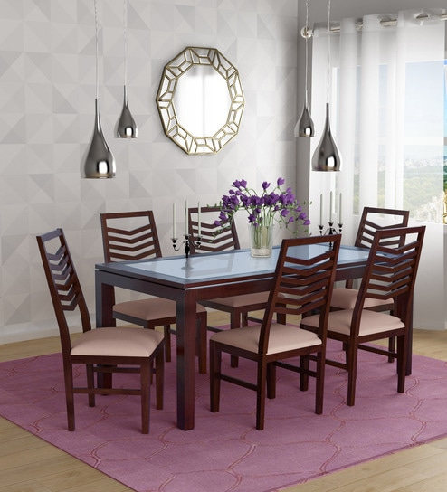 Rio Six Seater Dining Set With Gl Top In Dark Brown Finish By Evok Online Sets Furniture Pepperfry Product
