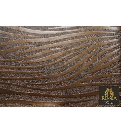Risora Copper Metallic Zebra Striped Upholstery Fabric