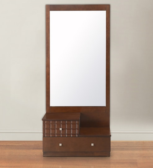 Rivera Dressing Table With Mirror In Dark Walnut Finish By @home