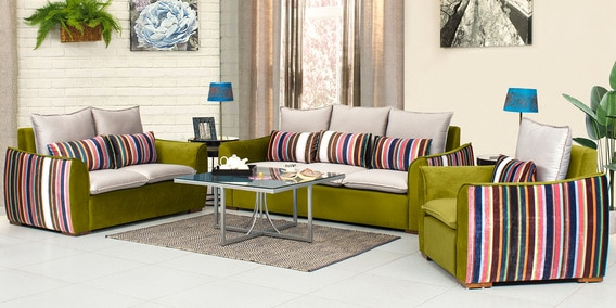 Rivera Sofa Set 3 2 1 In Green Colour By Peachtree