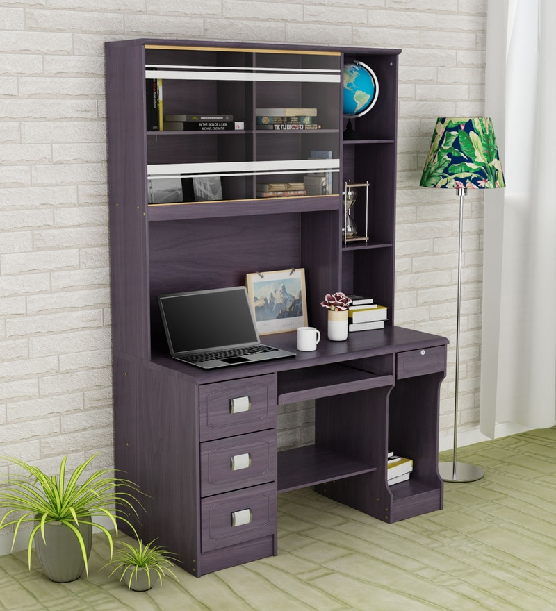 Buy Rica Computer Table With Book Shelf On Black By Royal