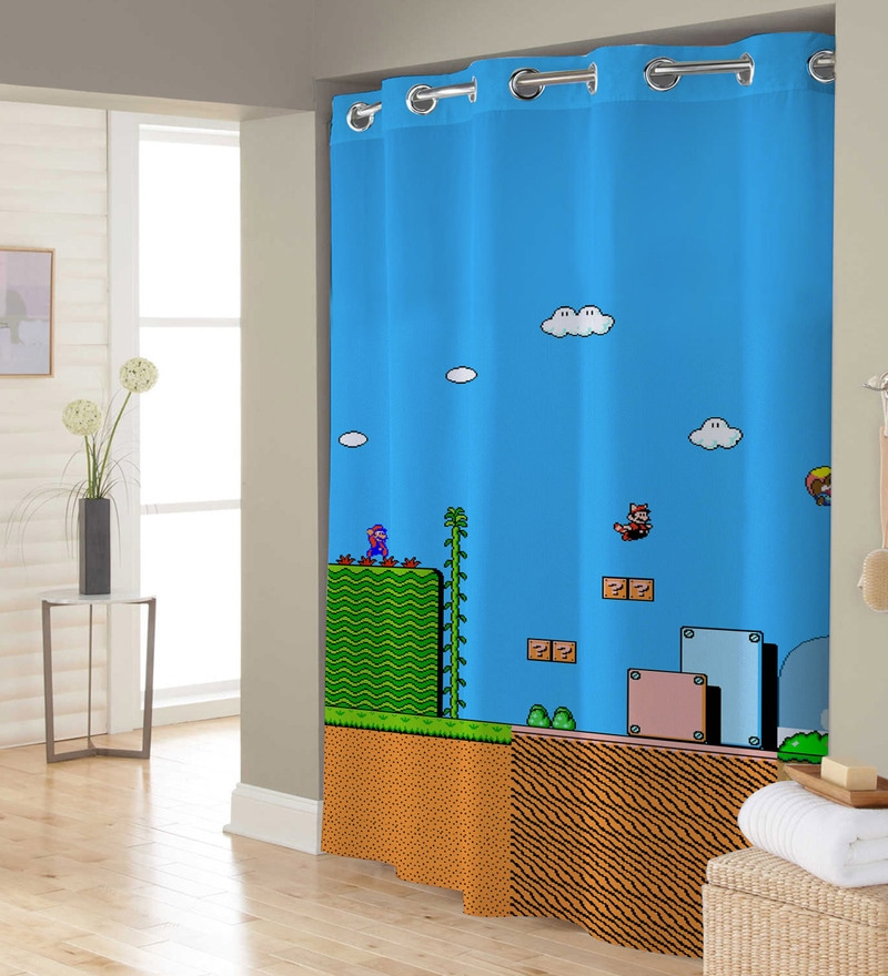 Blue & Green Mario Game Polyester Shower Curtain by Right