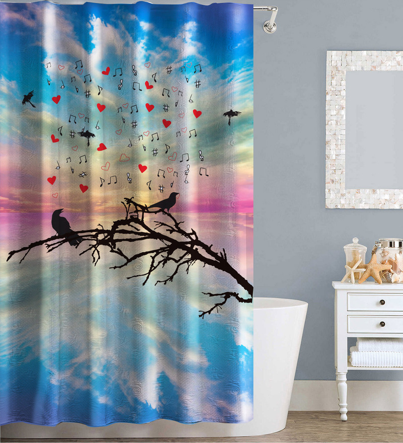 Clip Art Design Multicolor Polyester Water Proof Shower Curtain by Right