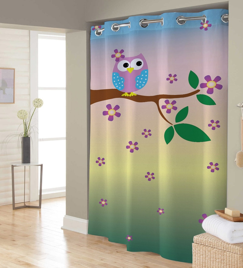 Multicolor Owl Polyester Shower Curtain by Right