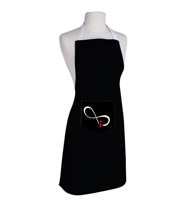 Right Semicolon Print Black Polyester Free Size Apron