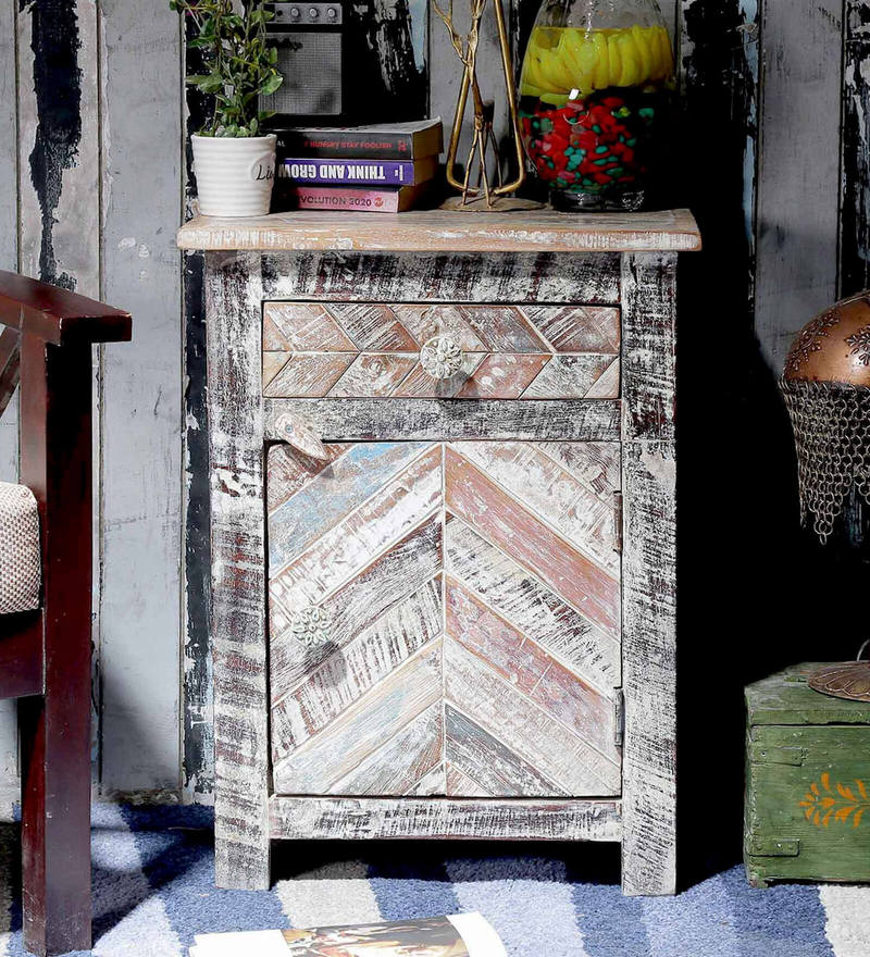 Rihanna Bedside Table in Distress Finish by Bohemiana