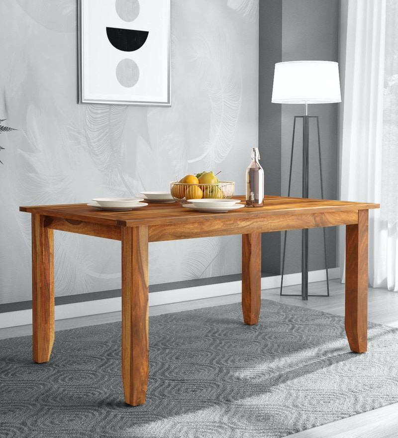 buy ritz solid wood 6 seater dining table in rustic teak