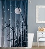 Abstract Design Grey Polyester Water Proof Shower Curtain by Right