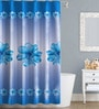 Flower Design Blue Polyester Water Proof Shower Curtain by Right