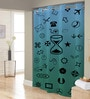 Blue, Green & Black Random Print Polyester Shower Curtain by Right