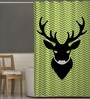 Multicolor Polyester Deer Print Shower Curtain by Right