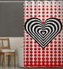 White Black & Red Polyester Shower Curtain by Right