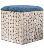 Riley Box Pouffe in Blue Colour Seat by InLiving