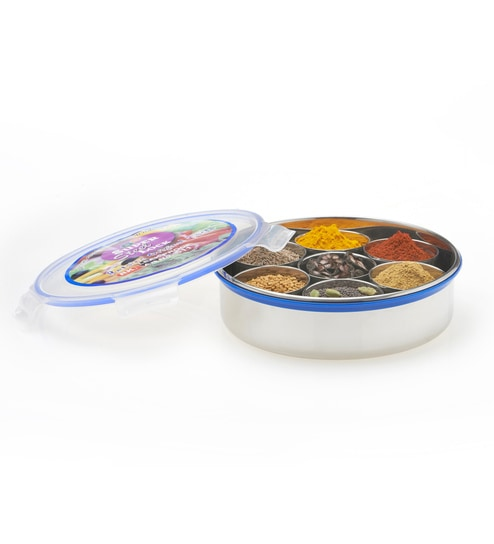 RK Super Lock U0026 Seal Silver Round 1450 ML Gruh Pravesh Masala Box Container  With 7