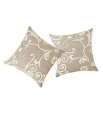 Beige Cotton 16 x 16 Inch Ivy Embroidered Cushion Cover - Set of 2