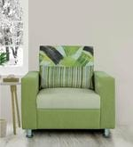 Rosetta One Seater Sofa in Green & Cream Colour