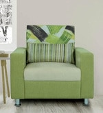 Rosetta One Seater Sofa with Cushion in Green & Cream Colour