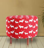 Round Ottoman in Red Colour