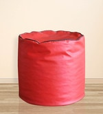Round Ottoman Piping Large Pouffe in Red & Black Colour