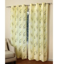 Rosara Yellow Cotton 48 X 84 Inch Cornwell Printed Door Curtain