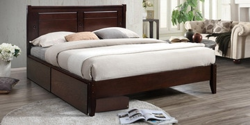 Kosuke Queen Size Bed With Drawer Storage In Milan Walnut Finish