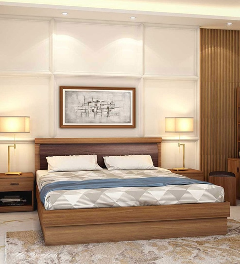 80c0efbbc4 Buy Robinson King Size Bed with Hydraulic Storage in Warm Finish by Durian  Online - Modern King Sized Beds - Beds - Furniture - Pepperfry Product