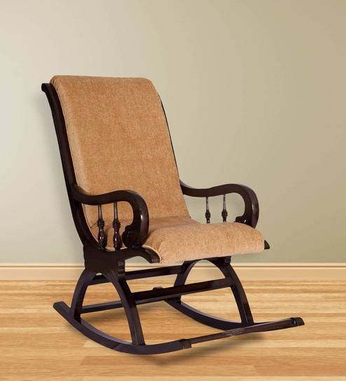 Rocking Chair In Coffee Brown Fabric By Karigar