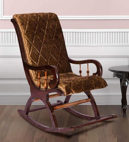 Superbe Rocking Chair In Dark Brown Colour By Karigar