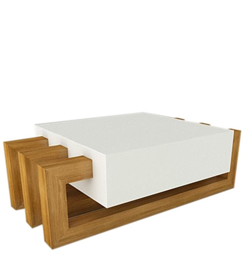 Buy Rockwood Coffee Table in White & Brown Colour by U & I Furniture ...