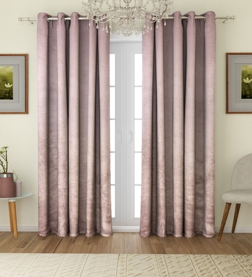 8bfa812f5981 Buy ROMEE Solid Eyelet Velvet Blackout Curtains For Door 7 Feet, Set of 2 -  Silver Online - Solid Colour Door Curtains - Door Curtains - Carpets ...