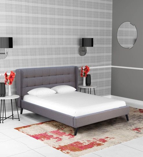 372f52ca9df72d Romina Upholstered Queen Size Bed in Charcoal Grey Colour by CasaCraft