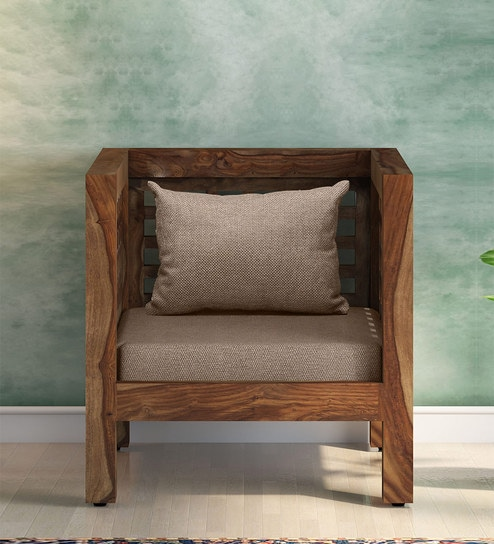 Terrific Rory Solid Wood 1 Seater Sofa With Back Cushion In Natural Finish By Woodsworth Short Links Chair Design For Home Short Linksinfo