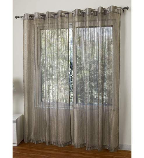 Beige Polyester 55 X 84 Inch Aspen Light Woven Stripe Sheer Door Curtain By  Rosara