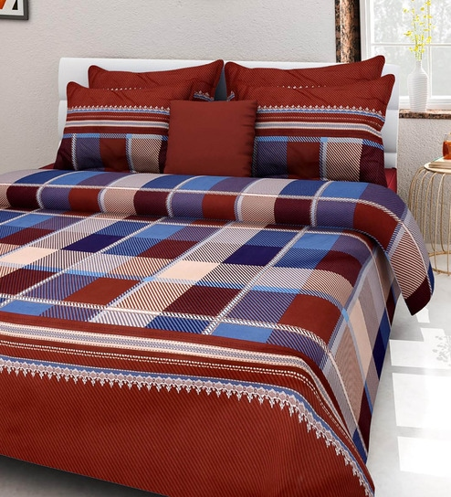Rosepetal Multicolor Poly Cotton Tartan Plaid Printed Double Bed Sheet Set  (with Pillow Covers)