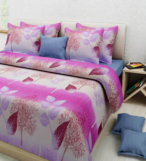 Multicolored Poly Cotton Floral Double Bed Sheet Set (with Pillow Covers)  By Rosepetal